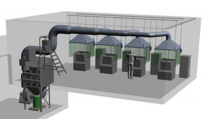 FILTRACON aspiration des fumées filtre à cartouche fonderie Le Crêt-du-Locle