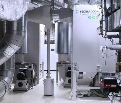 FILTRACON Entstaubungsanlage Patronenfilter Sintermetall Plaffeien